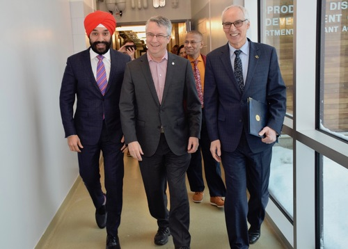 Lloyd Longfield, Navdeep Bains, and Franco Vaccarino at the grand opening